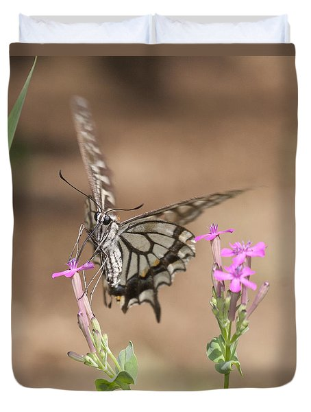 Butterfly And Flower Duvet Cover