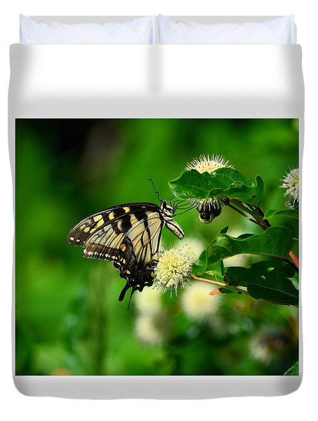 Butterfly And The Bee Sharing Duvet Cover