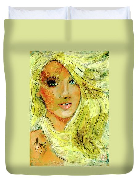 Duvet Cover featuring the painting Butterfly Blonde by P J Lewis