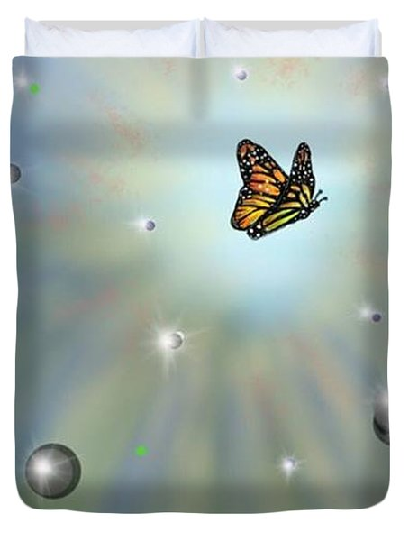 Duvet Cover featuring the digital art Butterfly Bubbles by Darren Cannell