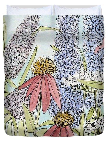 Butterfly Bush In Garden Duvet Cover