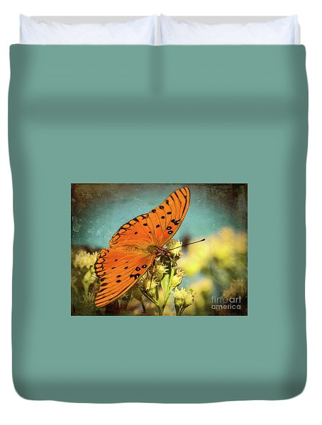 Butterfly Enjoying The Nectar Duvet Cover by Scott and Dixie Wiley