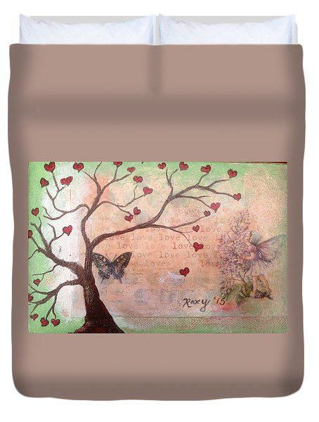 Butterfly Fairy Heart Tree Duvet Cover