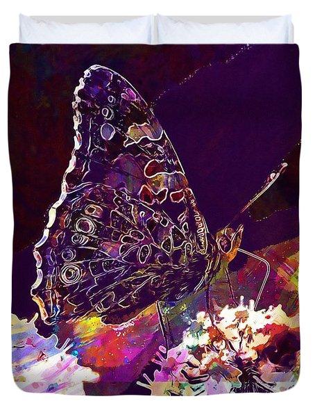 Duvet Cover featuring the digital art Butterfly Flower Summer Forage  by PixBreak Art