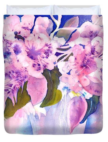 Pink Butterfly Flowers Duvet Cover