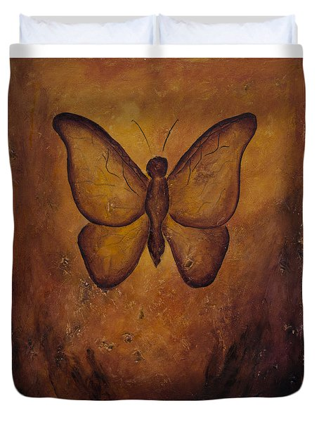 Duvet Cover featuring the painting Butterfly Freedom by Jocelyn Friis