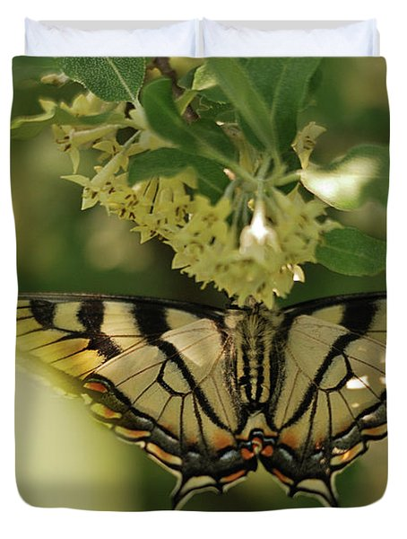 Duvet Cover featuring the photograph Butterfly From Another Side by Susan Capuano
