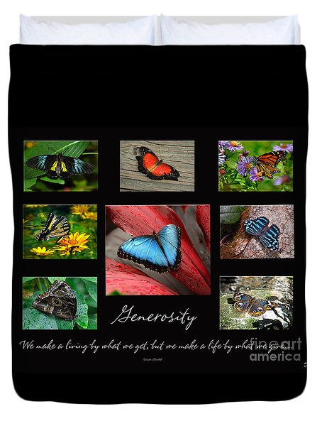 Butterfly Generosity Collage Duvet Cover by Diane E Berry