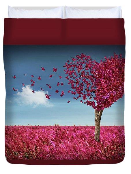 Butterfly Heart Tree Duvet Cover