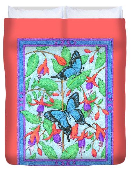 Butterfly Idyll-fuchsias Duvet Cover