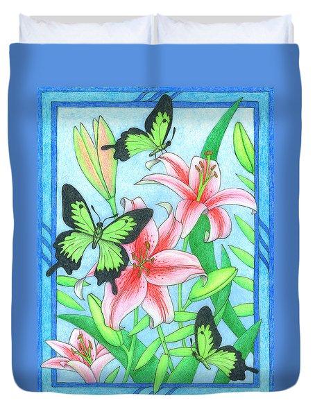 Butterfly Idyll- Lilies Duvet Cover