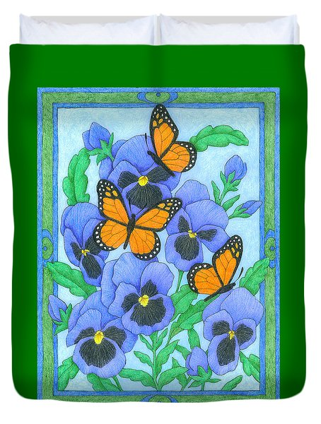 Butterfly Idyll-pansies Duvet Cover