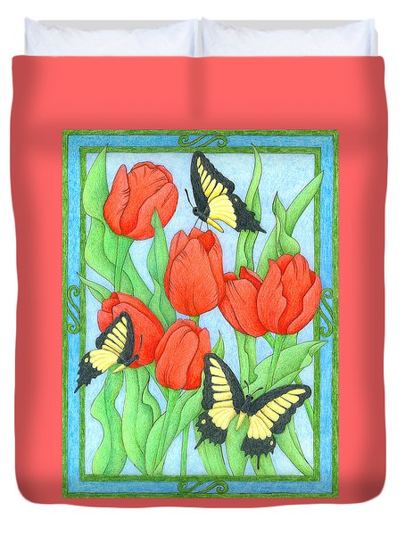 Butterfly Idyll-tulips Duvet Cover