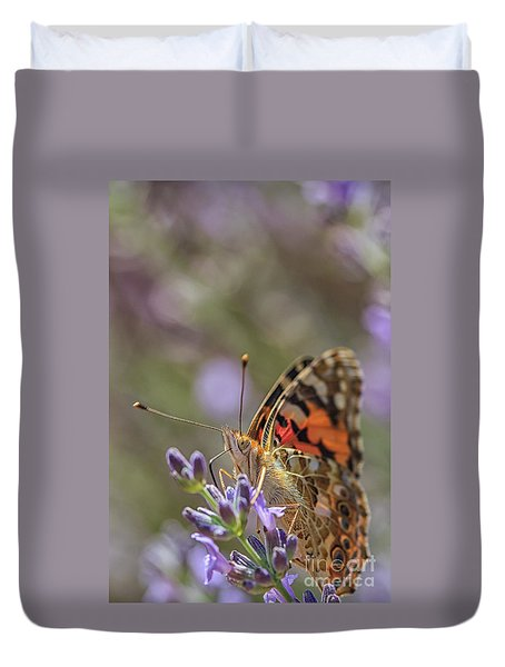 Duvet Cover featuring the photograph Butterfly In Close Up by Patricia Hofmeester