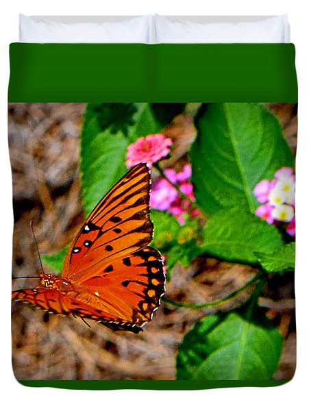 Duvet Cover featuring the photograph Butterfly In Flight 002 by George Bostian