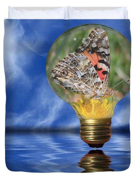 Butterfly In Lightbulb - Landscape Duvet Cover
