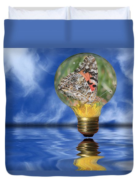 Butterfly In Lightbulb - Landscape Duvet Cover