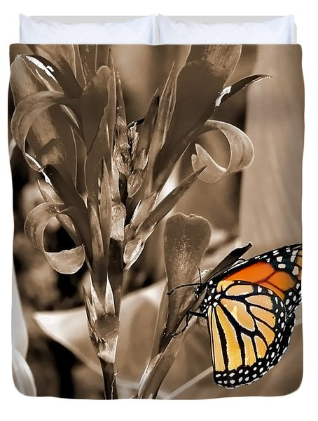 Butterfly In Sepia Duvet Cover