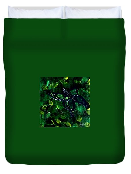 Duvet Cover featuring the painting Butterfly In The Bush by Janelle Dey