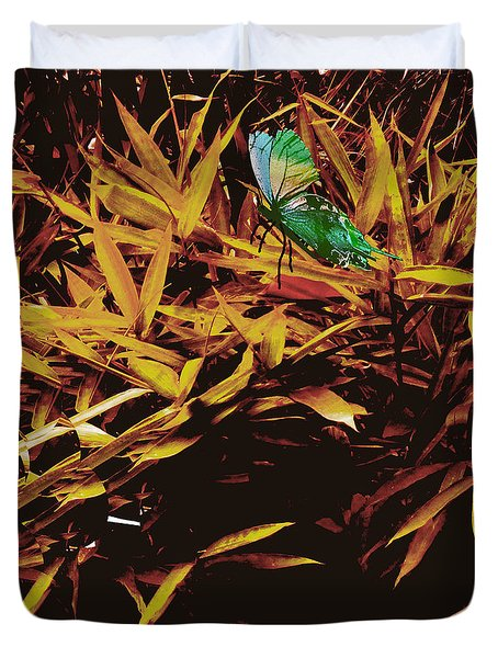 Butterfly Landscape Duvet Cover by Asok Mukhopadhyay