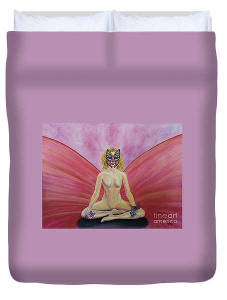 Duvet Cover featuring the painting Butterfly Meditation by Steed Edwards