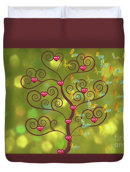 Butterfly Of Heart Tree Duvet Cover