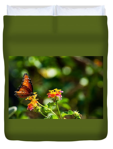 Butterfly On A Flower Duvet Cover