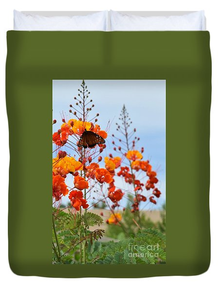Butterfly On Bird Of Paradise Duvet Cover
