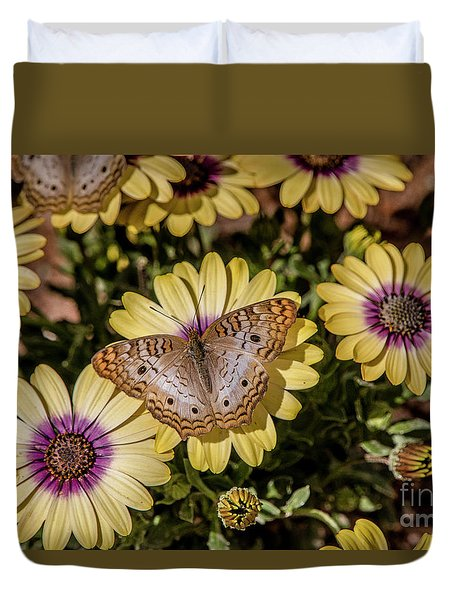 Butterfly On Blossoms Duvet Cover