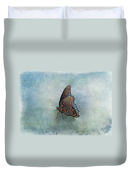 Duvet Cover featuring the photograph Butterfly On Blue by Sandy Keeton