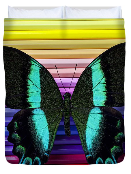 Butterfly On Colored Pencils Duvet Cover