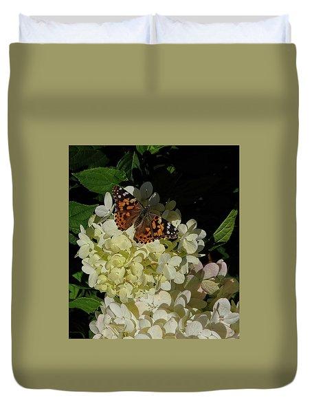 Butterfly On Hydrangea Duvet Cover