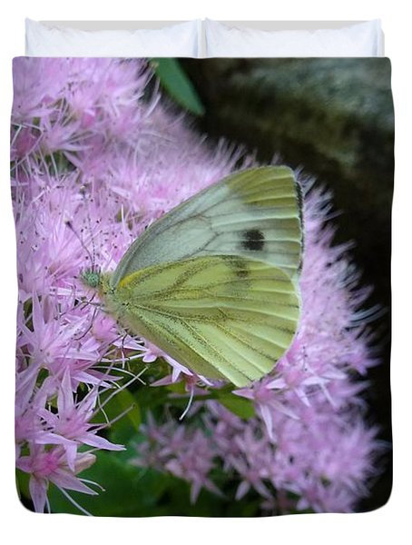 Butterfly On Mauve Flowers Duvet Cover