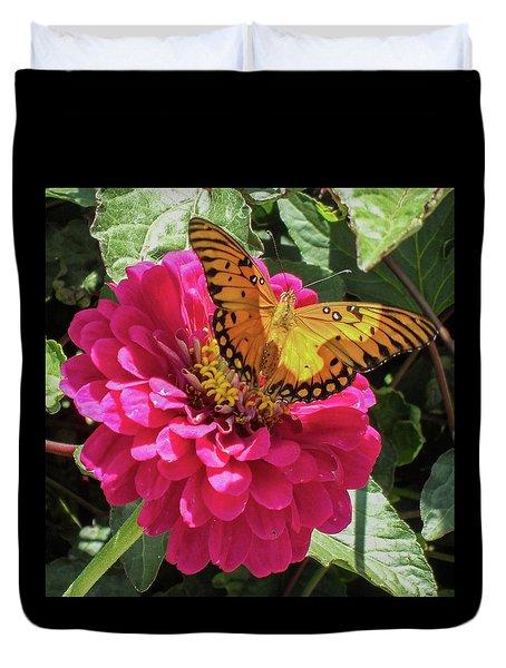 Butterfly On Pink Flower Duvet Cover