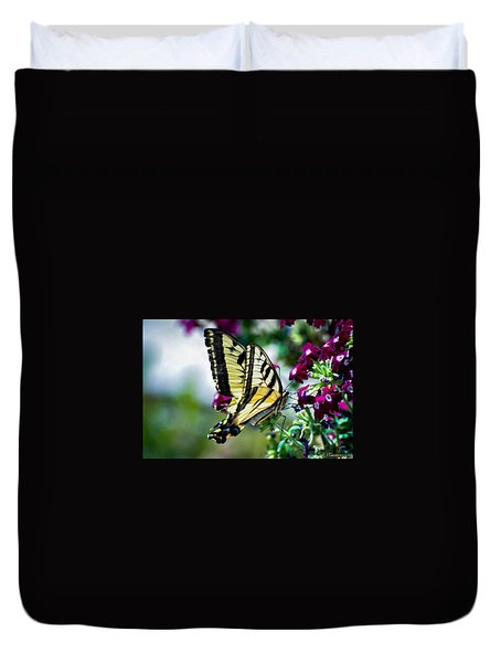 Butterfly On Purple Flowers Duvet Cover