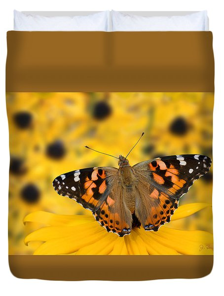 Butterfly On Rudbeckia Duvet Cover