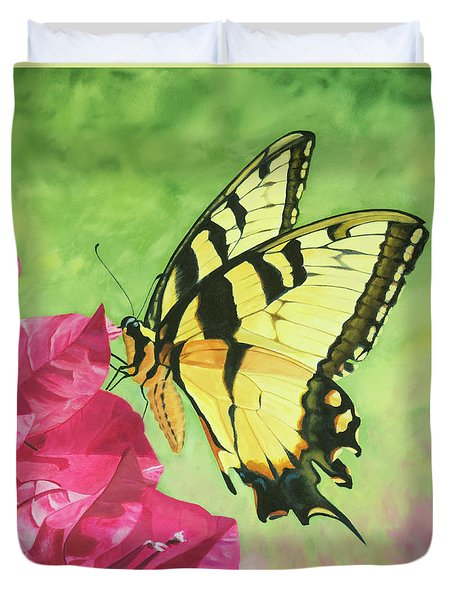 Butterfly On The Bougainvillea Duvet Cover