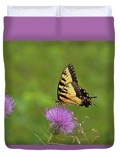 Duvet Cover featuring the photograph Butterfly On Thistle by Sandy Keeton