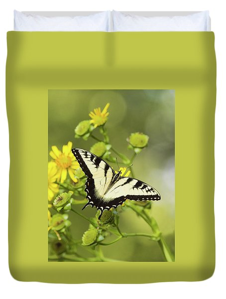 Butterfly On Yellow Duvet Cover