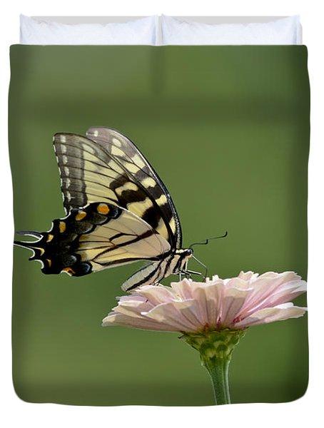 Butterfly On Zinnia Duvet Cover