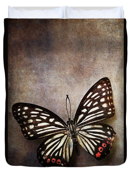 Butterfly Over Textured Background Duvet Cover