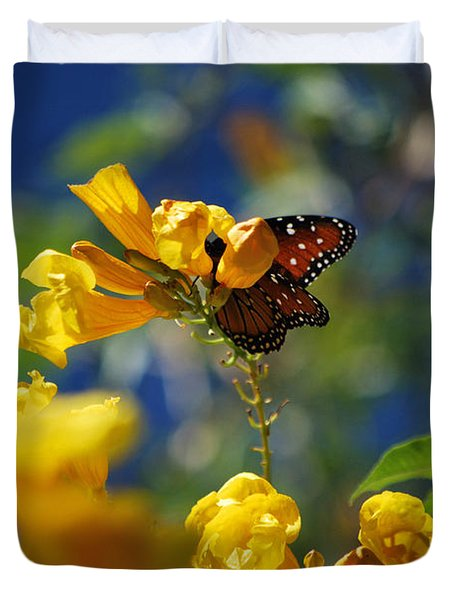 Butterfly Pollinating Flowers  Duvet Cover by Donna Greene
