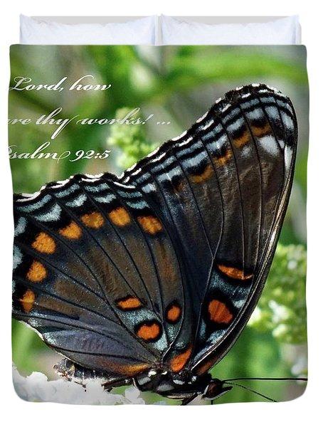 Butterfly Psalm 92 Scripture Duvet Cover