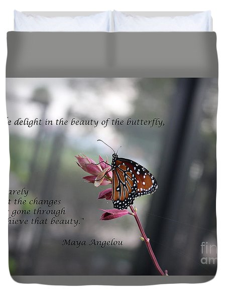 Butterfly Quote Art Print Duvet Cover