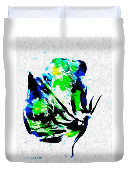 Duvet Cover featuring the digital art Butterfly Relief Abstract by Frank Bright