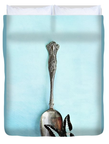 Butterfly Resting On Antique Spoon Duvet Cover