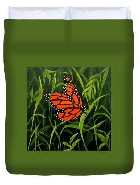 Duvet Cover featuring the painting Butterfly by Roseann Gilmore
