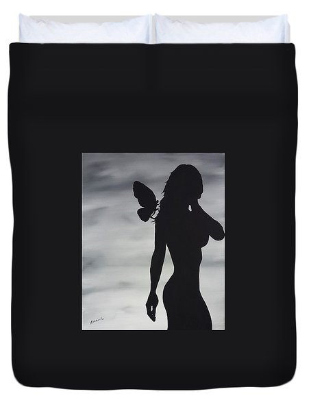 Butterfly Silhouette Duvet Cover by Edwin Alverio