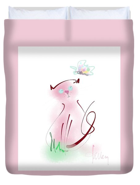 Duvet Cover featuring the mixed media Butterfly Surprise by Larry Talley