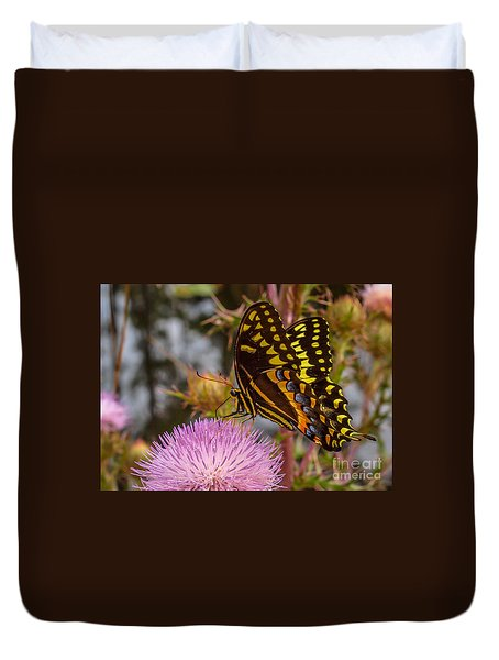 Duvet Cover featuring the photograph Butterfly Visit by Tom Claud